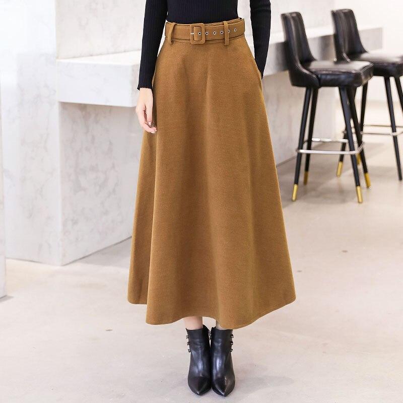 Maxi faldas de lana para mujer Otoño Invierno 2020 con bolsillos con cinturón falda de lana Vintage para mujer moda Casual Khaki Streetwear femenino