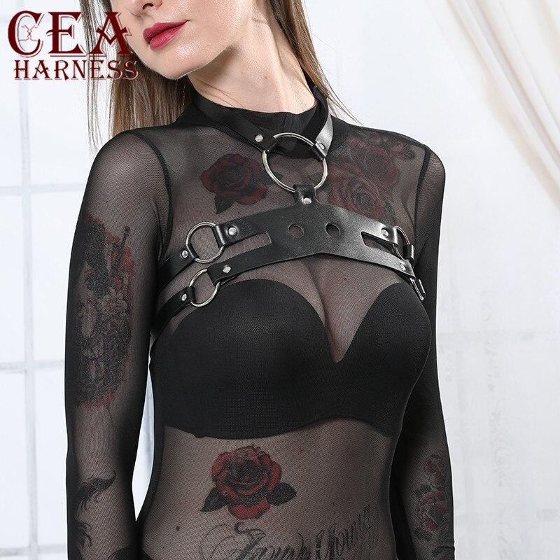 CEA Frauen Harajuku O-ring Leder Harness Sexy Fehlschlag Strumpfbänder Punk Choker Gürtel Fesseln Sexy Körper Bondage Hosenträger Straps gürtel