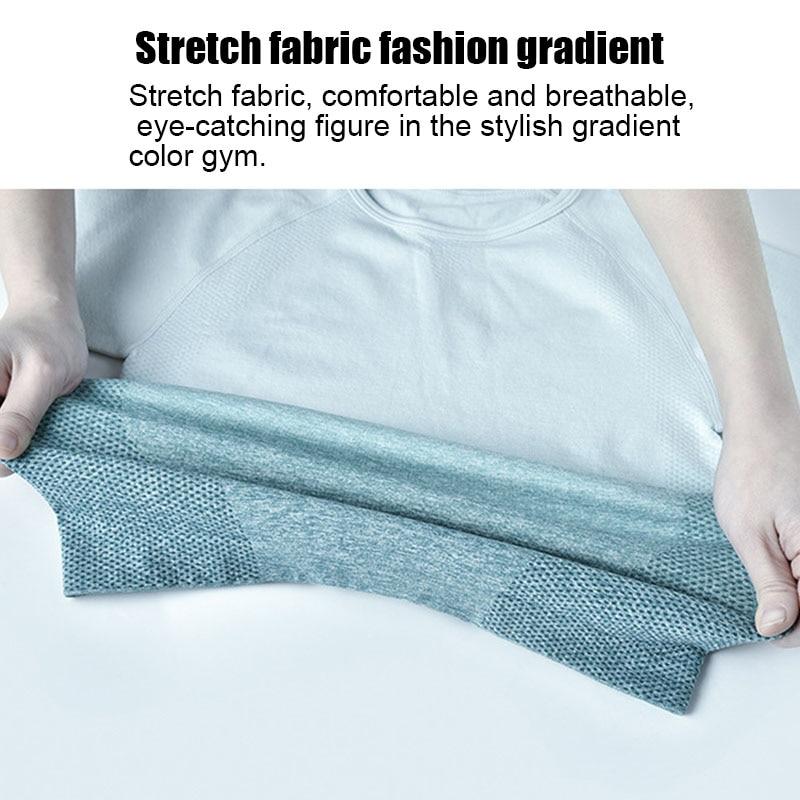 Hot Women Sport Crop Top Gradient Color Yoga T-shirt High Elastic Breathable Short Sleeve Sportswear MVI-ing