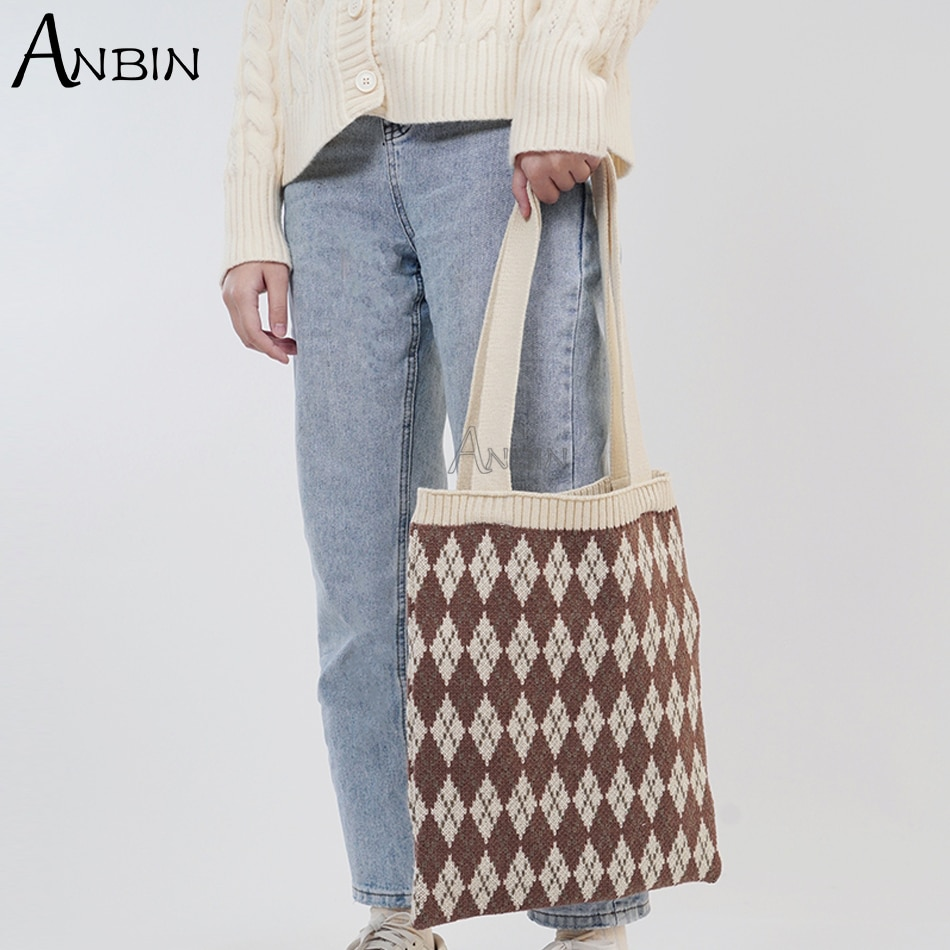 Winter Wool Knitted Shoulder Shopping Bag for Women Vintage Fashion Cotton Cloth Girls Tote Shopper