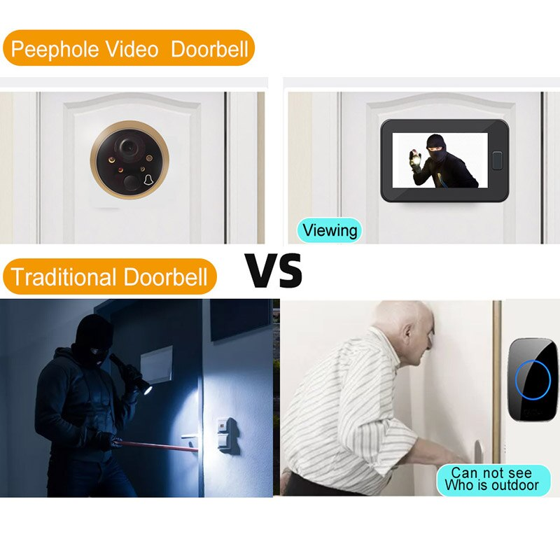 Peephole Door Camera 4.3 Inch Color Screen With  Bell LED Lights Electronic bell  Viewer Home Security enlarge