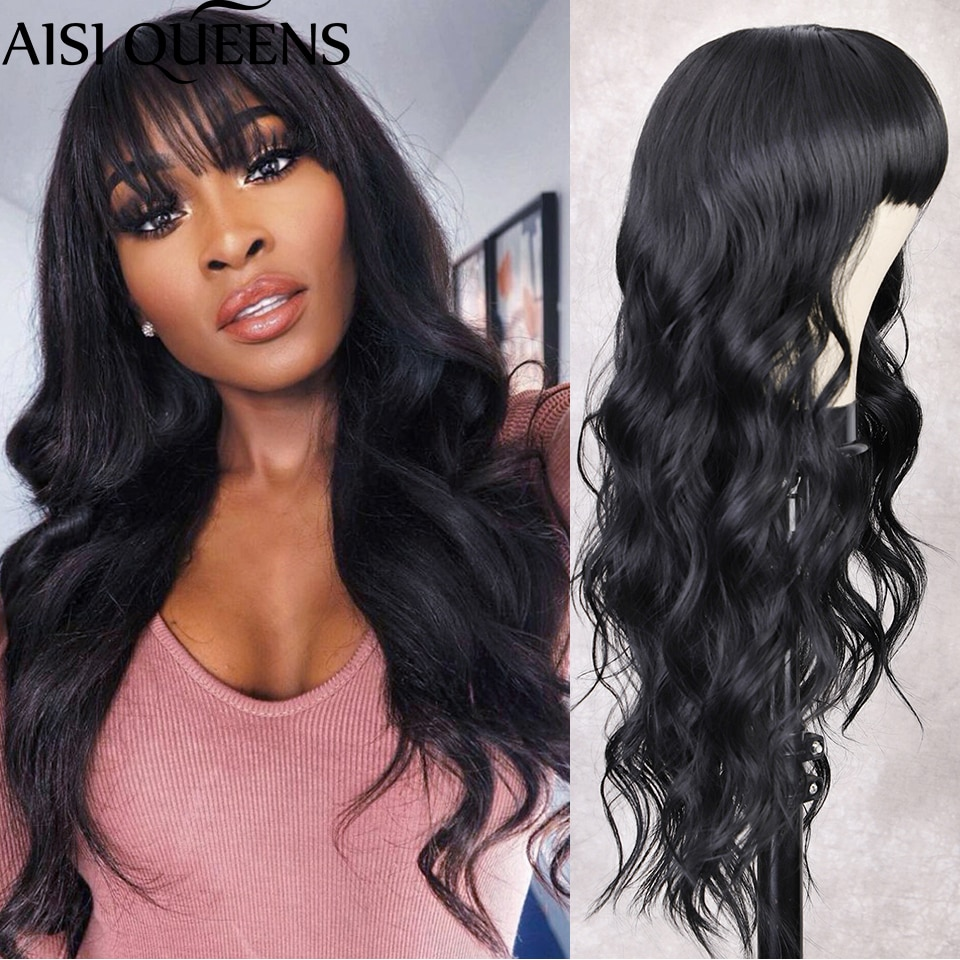AISI QUEENS High Quality Long Body Wave Synthetic Wigs with Bangs Ship from Belgium Warehouse Free Shipping in Europe