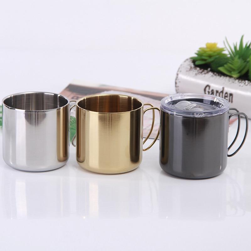 Марка водное стекло 1 шт. нержавеющая сталь с ручкой простые креативные подарки кофейные пивные кружки для дома походные портативные чашки ...