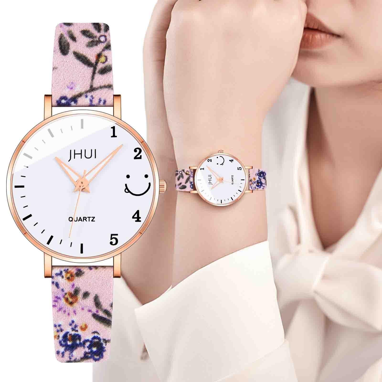 Fashion printed strap Luxury Temperament Woman watch  Analog Arabic Digital Quartz Watch Luxury roun