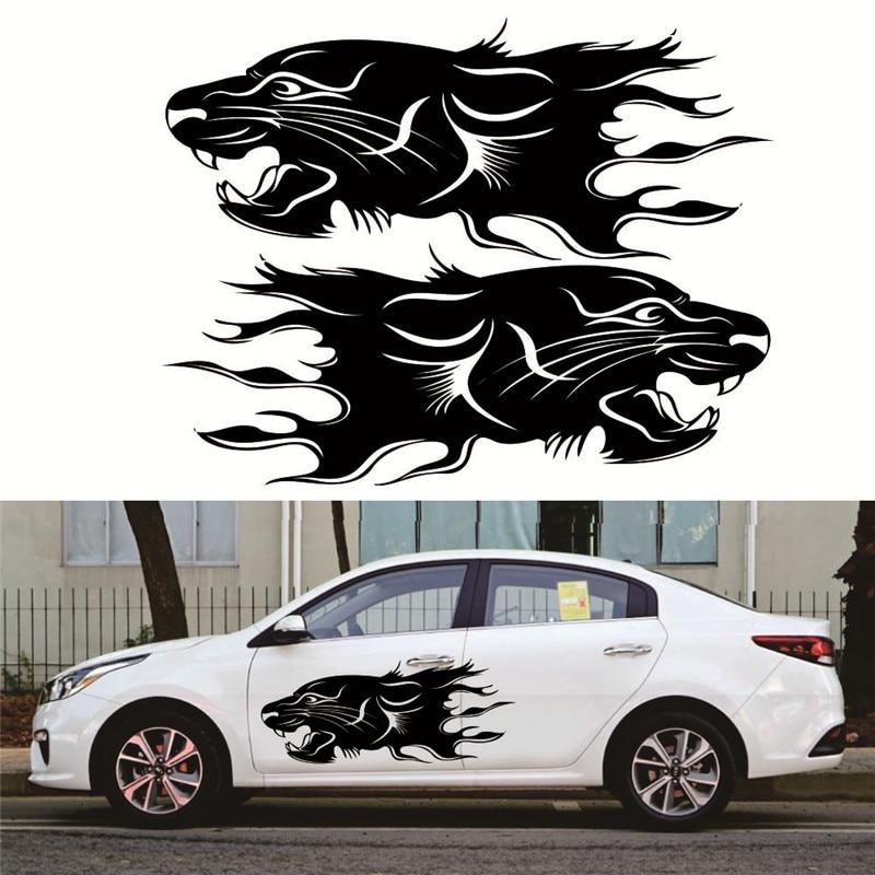 2pcs Reliable Lion Bumblebee Totem Car Sticker Car Body Racing Side Door Long Stripe Stickers Auto Vinyl Decal Car Body Sticker