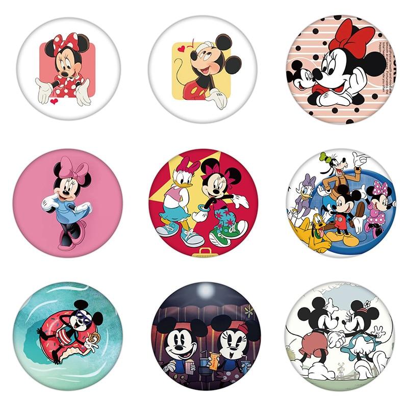 9 unids/lote Mickey Minnie Mouse plástico botón Pines de dibujos animados broches traje Anime icono insignia en ropa del sombrero de los niños, regalo