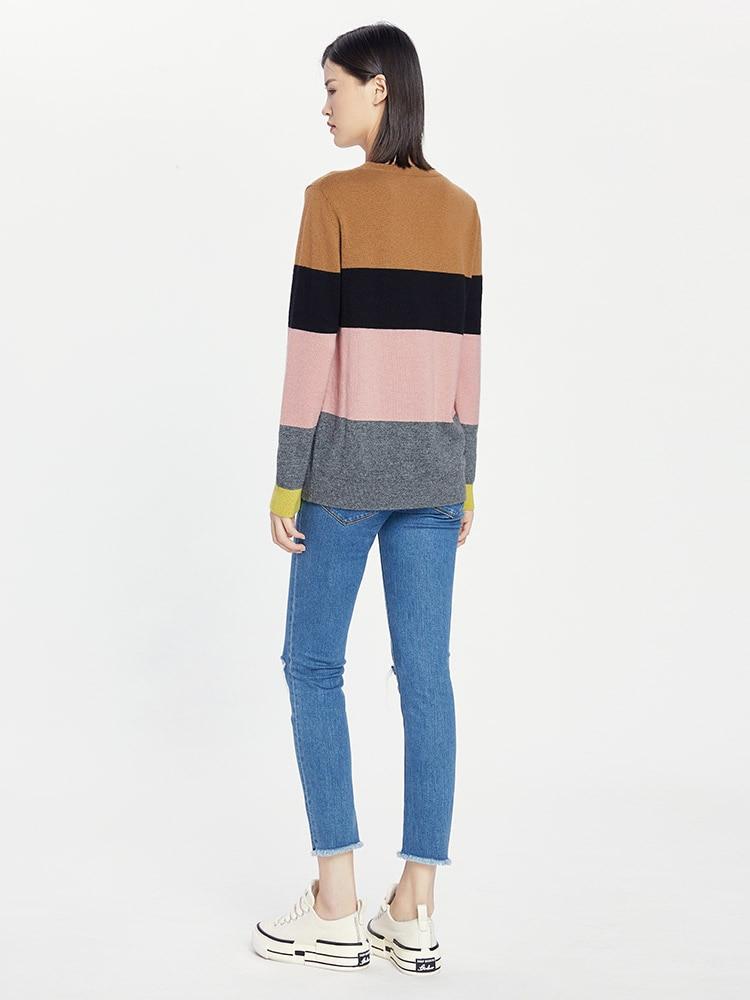 Tailor Shop Custom Made All Cashmere Striped Cashmere Sweater Women Sweater Knit Sweater Bottoming Shirt enlarge