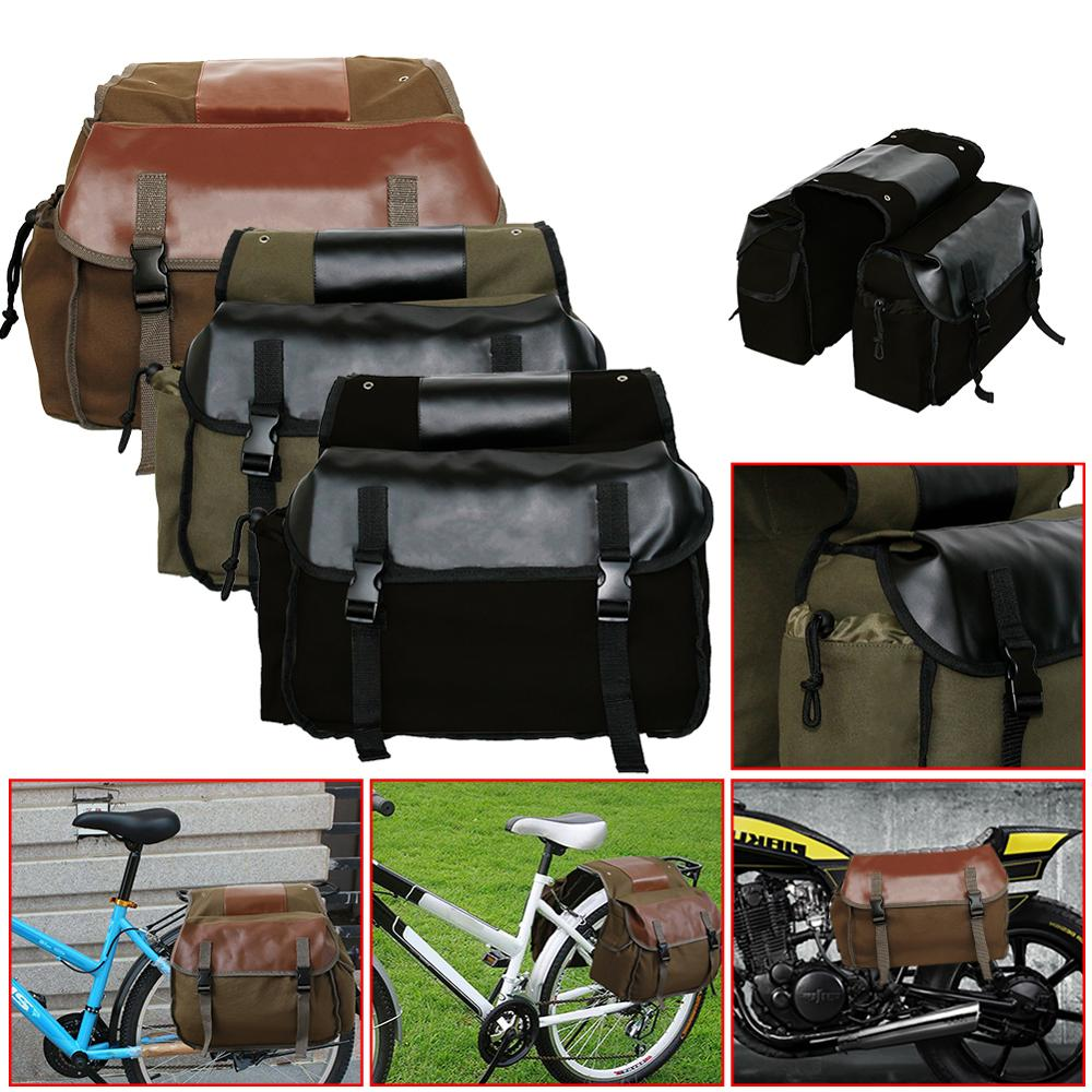 Motorbike Cycling Saddle Bag Luggage Waterproof Leather Rear Back Pack Saddlebags High Capacity Motorcycle Canvas Luggage HOT !!