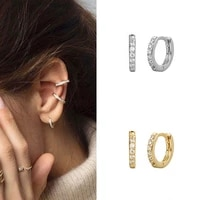 charm s925 silver hoop earrings for womenclear zircon small round earringfashion gold color ear jewelry party casual