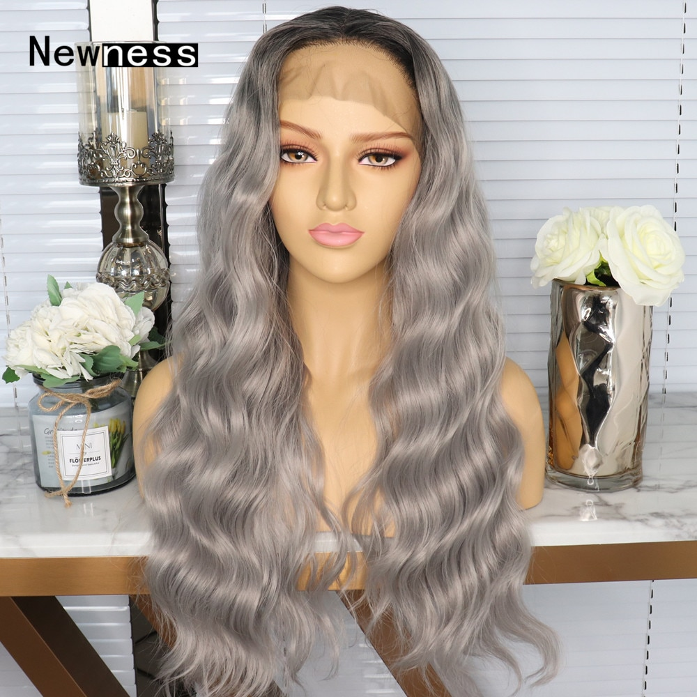 Ombre Grey Long Loose Wave Lace Front Wigs With Natural Hairline Heat Resistant Synthetic Lace Wigs For Women