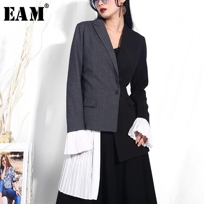 [EAM]  Women Black Gray Pleated Split Joint Blazer New Lapel Long Sleeve Loose Fit  Jacket Fashion Tide Spring Autumn 2020 YC941