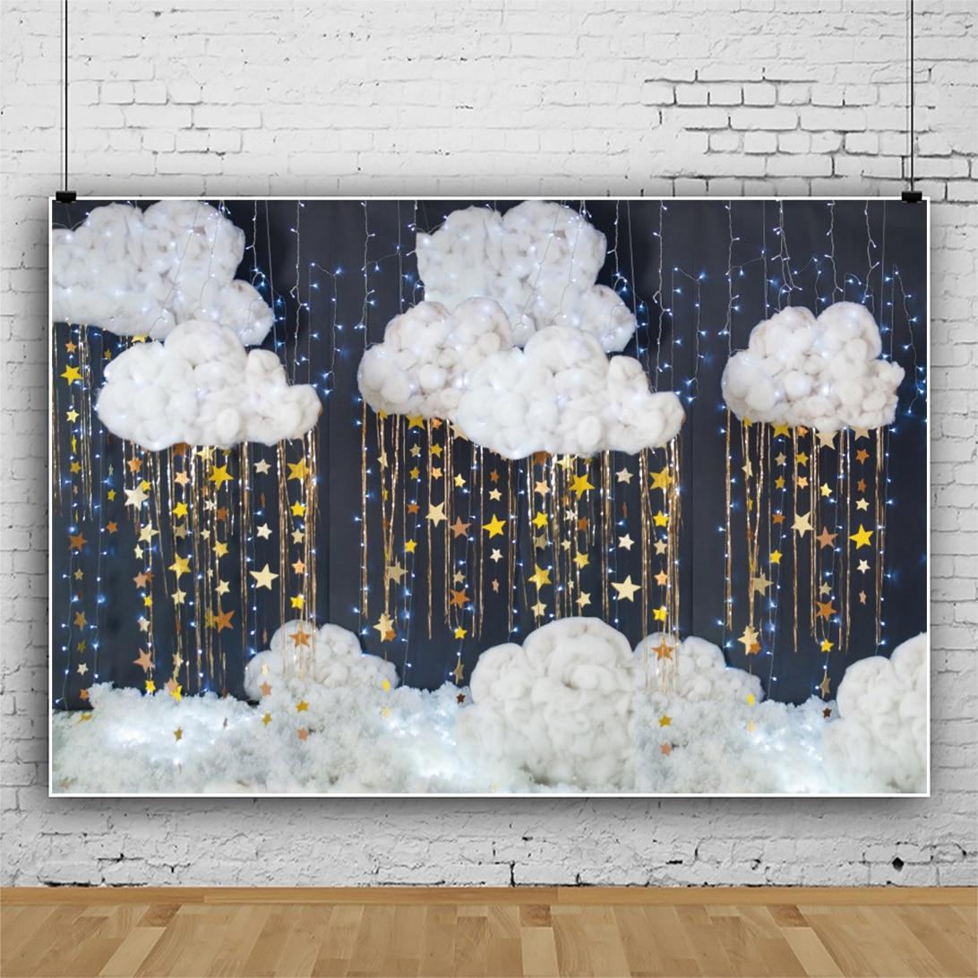Сценический свадебный фон Laeacco для фотосъемки с изображением белых облаков светильник д, легкий баннер, декор для детского дня рождения, фон...