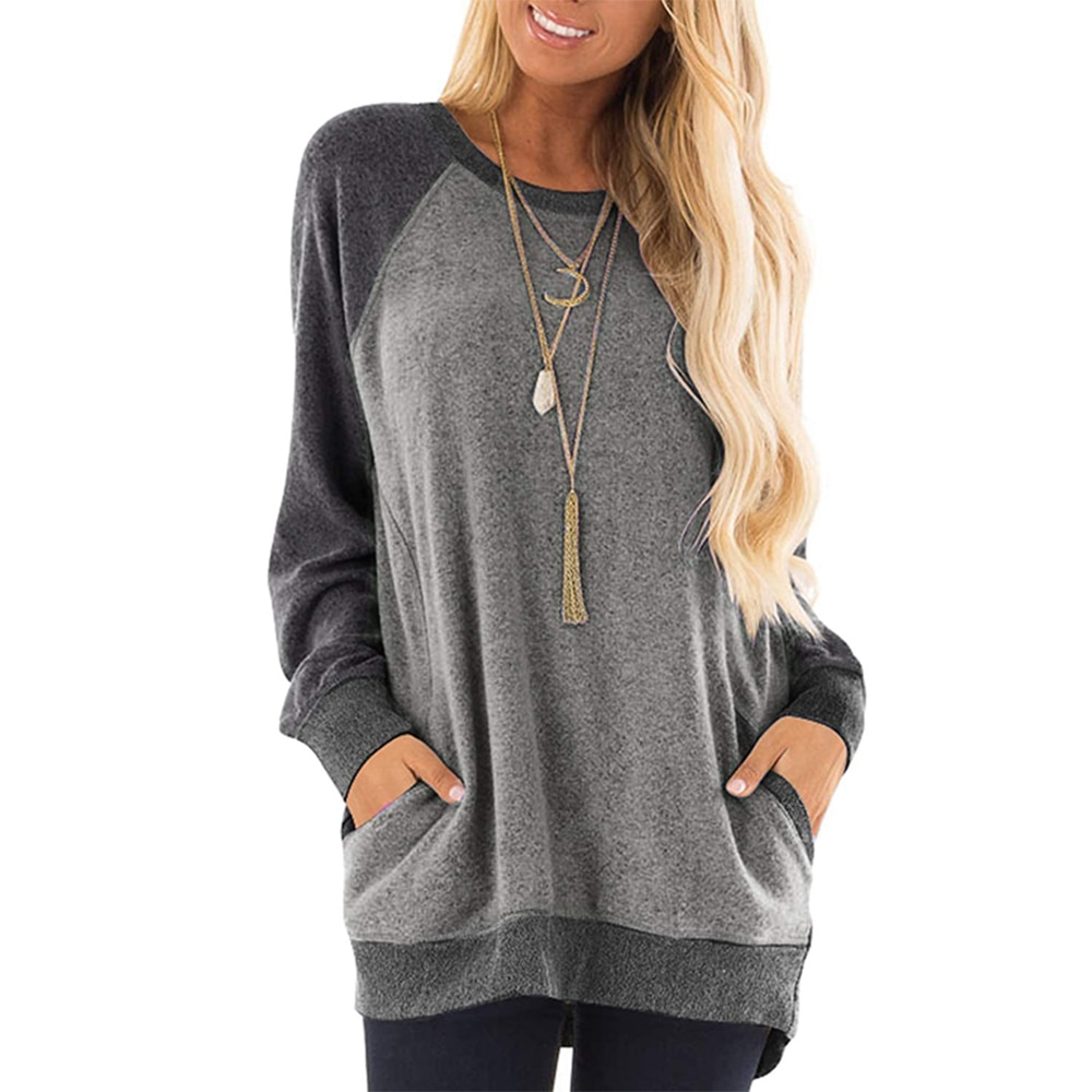 GULE GULE Women's Casual Sweatshirt, Colour Block, Long Sleeve Shirt, Round Neck Pullover, Blouse, Jumper Top