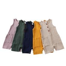 Summer Baby Boys Girls Romper Toddler Kids Playsuit Jumpsuits Cotton Linen Muslin Infant Romper Slee