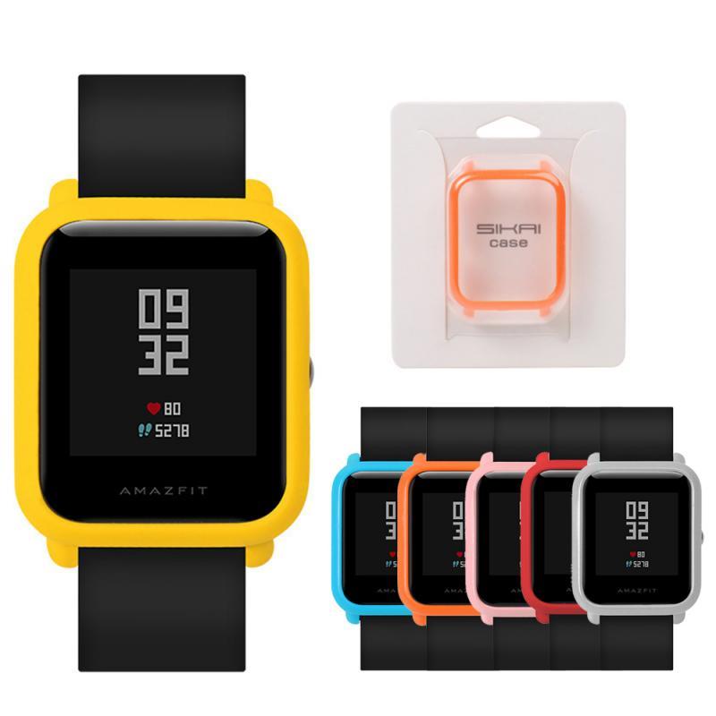 O novo para huami amazfit bip younth relógio fino colorido quadro pc proteger escudo acessórios relógio inteligente pulseira de pulso caso capa