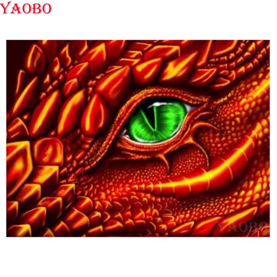 Diy 5d pintura diamante completo taladro cuadrado cuadro dragón de diamantes ojo bordado de diamantes de imitación fotos mosaico para decorar la pared