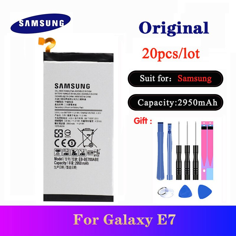 20pcs/lot Battery EB-BE700ABE For Samsung Galaxy E7 E7000 E700F Original Phone Replacement Bateria 2950mAh with Tools In Stock