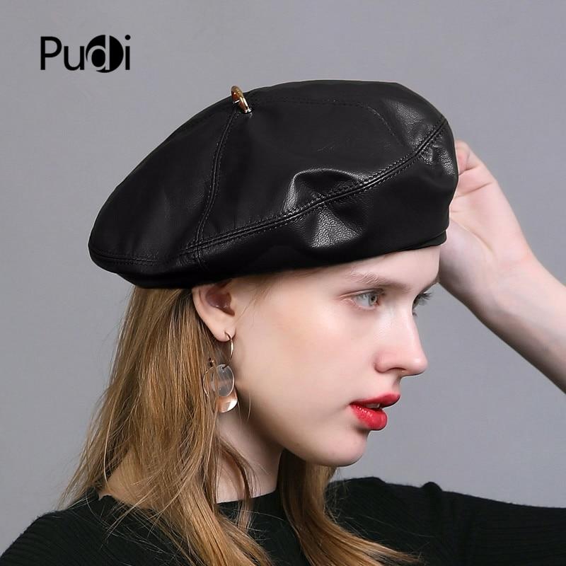 Pudi women real leather beret cap hat 2019 brand new leather berets female caps hats HL927