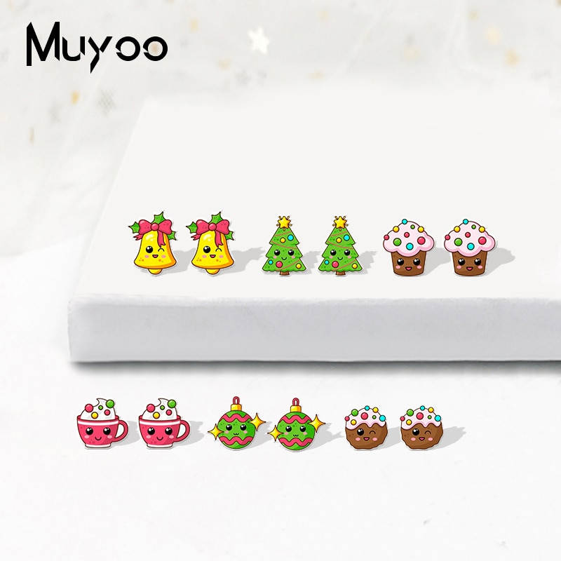 Pendientes acrílicos de moda de 2019, pendientes de resina epoxi con diseño de estrella de Navidad de dibujos animados, postres y rosquillas, regalos de Navidad para niñas