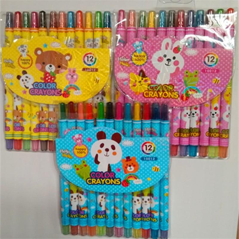 Nuevo crayón creativo giratorio de 12 colores, crayón de escuela primaria, rotación saludable, pintura al óleo, color de embalaje, cabello al azar