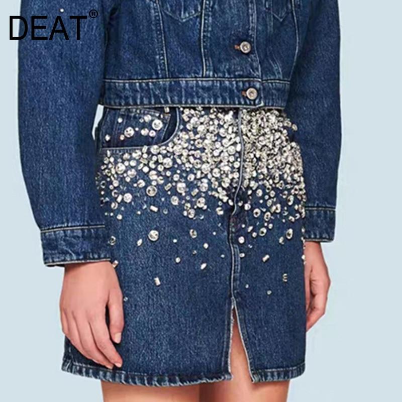 DEAT 2020 New Fashion Spring Vintage Navy Blue Heavy Industry Beaded Diamond Front Split Denim Skirt Women ZA2860
