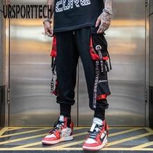 Pantalones Cargo con cintas de letras para hombre, ropa de chándal informal con bolsillos, estilo Hip Hop, ropa de calle deportiva