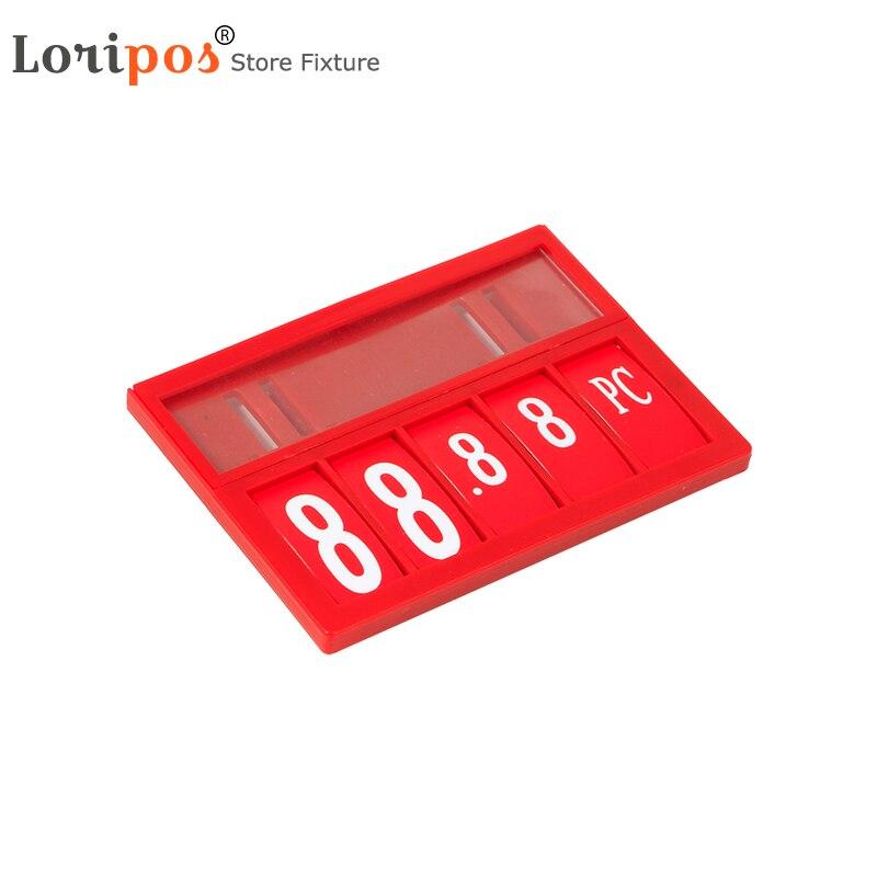 50 piezas Precio de supermercado número de unidad de medida firmar etiqueta soporte de marco de la pantalla de plástico gancho colgante estante Rack