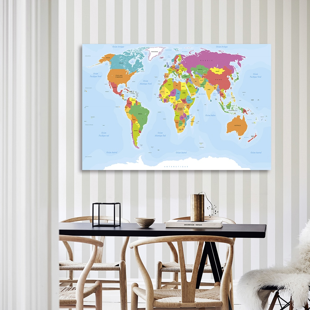 The World Political Map In French 150*100 cm Decorative Poster Non-woven Canvas Painting Living Room Home Decor School Supplies