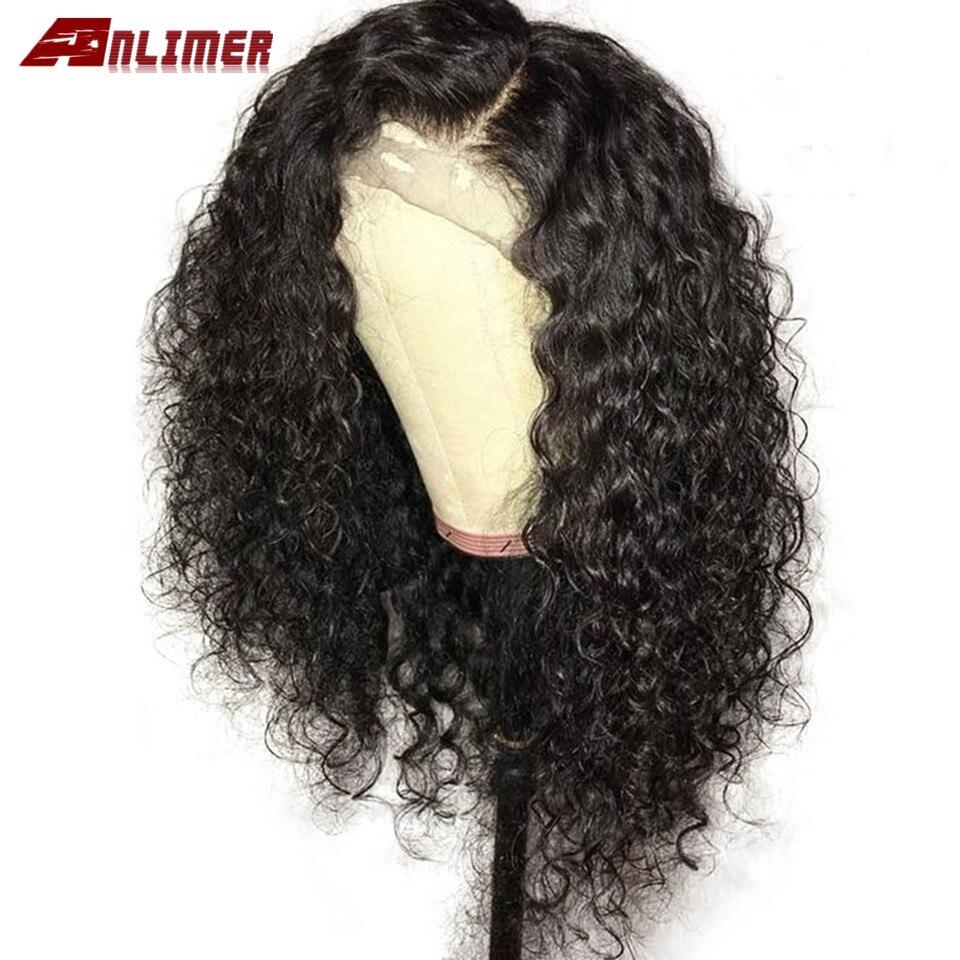 Peluca de pelo humano Frontal de encaje de densidad 180 de onda profunda corta Pre desplumado brasileño rizado 13x6 pelucas de agua Frontal Natural de encaje