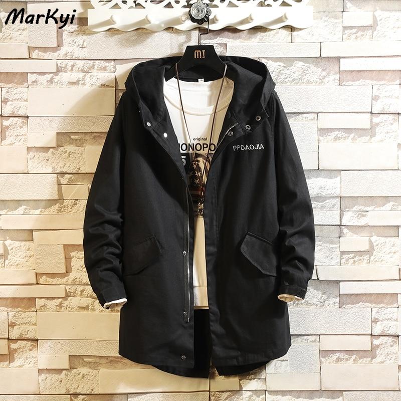 MarKyi 2020 winter new print windbreaker long Jacket men plus size 5xl hooded autumn casual jacket for