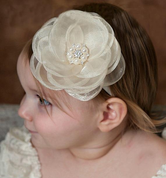 30 unidades por lote, diadema infantil de flores, diadema blanca de encaje con flores, diademas elásticas para bebé, diadema grande de flores para niñas, accesorios para el cabello