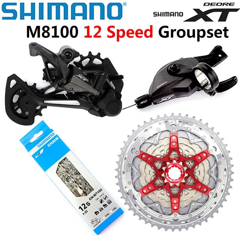 Набор для горного велосипеда SHIMANO DEORE XT M8100, 12 Скоростей, SL + RD + CSMZ901, 11-51T, кассета звездочек, переключатель передач, задний переключатель перед...
