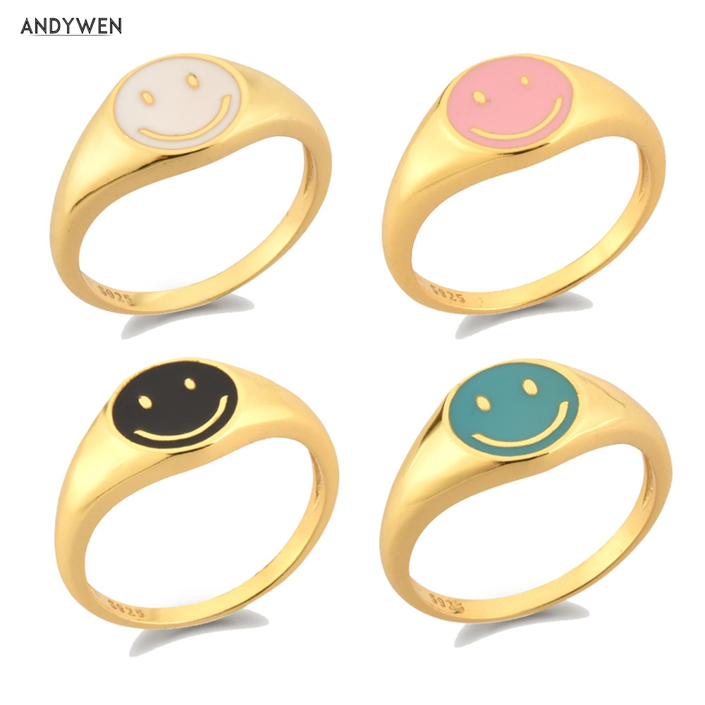 ANDYWEN 925 Sterling Silver Gold Smile Enamel Thick Ring Size Luxury Spring Fine Jewelry White Black