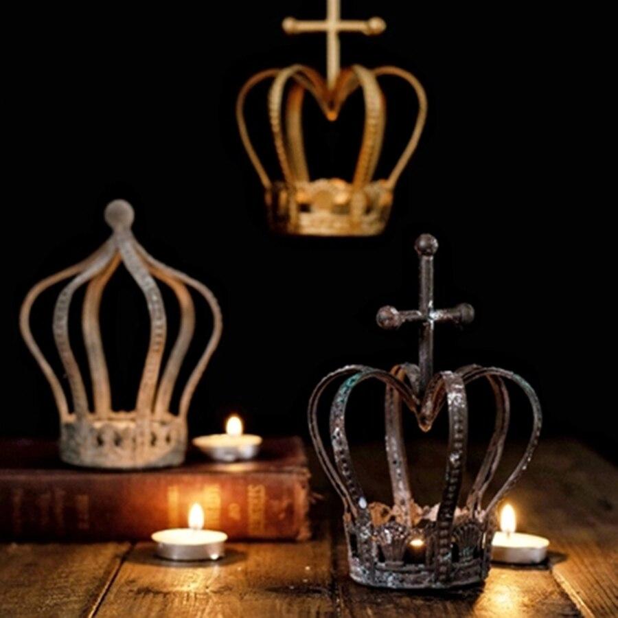 Corona de Metal antiguo Memorial vela colgante de cobre linterna de Metal oro Shabbat Candleabros decorative de Metal de mesa de linternas L