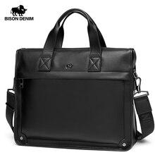 BISON DENIM Genuine Leather Men Bag Luxury Handbags Men Bag Designer High Quality Leather Shoulder Bag Laptop Briefcase N2985