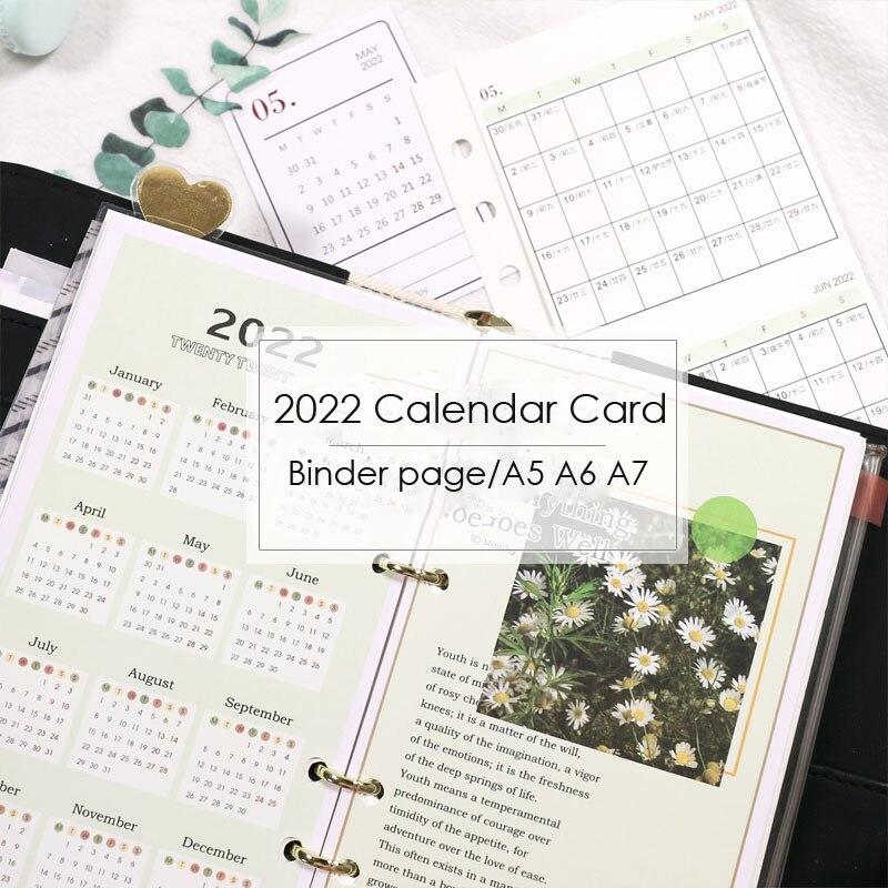 Sharkbang 2022 папка с календарем, открытки A5, A6, A7, спиральный разделитель индекса, разделитель страницы, календарный план для журнал, записных кни...