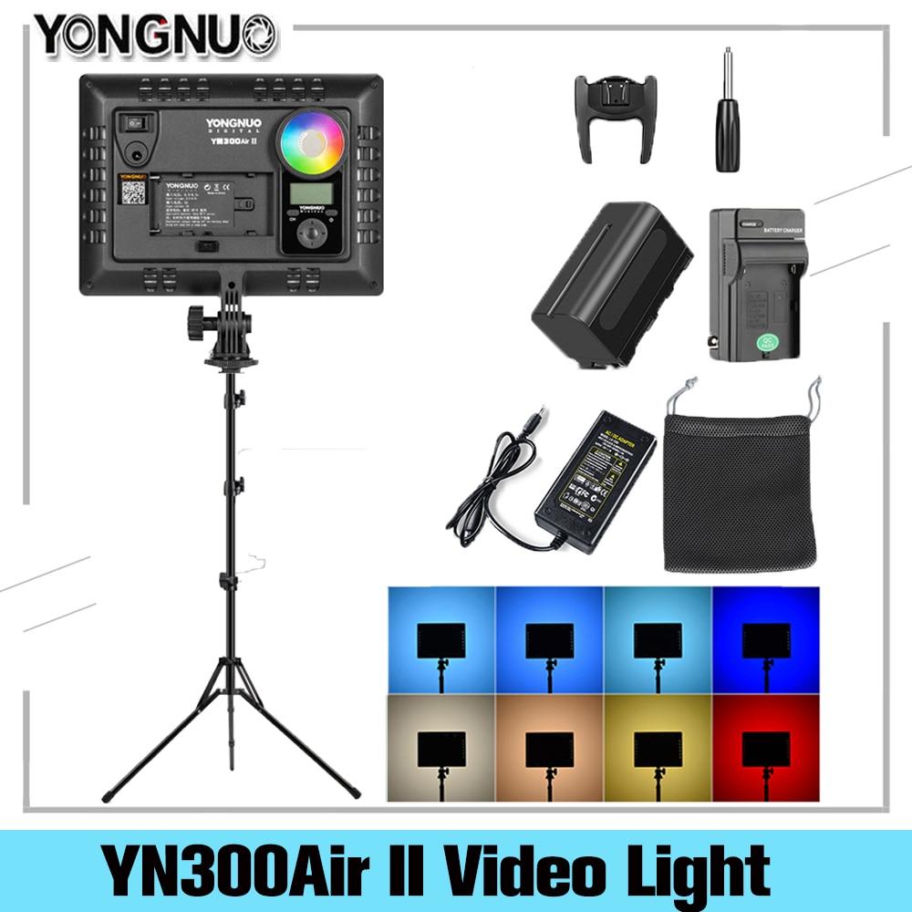 YONGNUO-مصباح كاميرا LED قابل للتعديل ، YN300AIR II RGB ، بطارية اختيارية مع شاحن ، مصباح تصوير ، محول تيار متردد وحامل