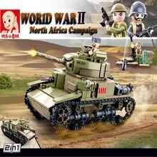 Sluban 463 pièces seconde guerre mondiale 2 en 1 M13/40 moyen réservoir blocs de construction WW2 militaire voiture modèle jouets comme cadeau de noël pour les enfants