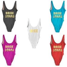 2020 Bachelor Party One Piece Swimsuit BRIDE SQUAD Bathing Suit Women Swimwear Plus Size Bodysuit monokini High Cut badpak dames