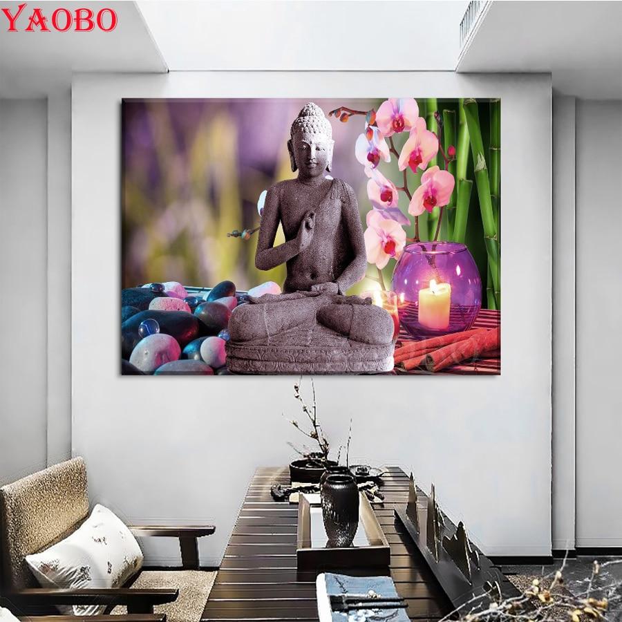 Pintura de orquídeas Zen hazlo-tú-mismo de diamante cuadrado/redondo 5D, estatua de Buda de taladro completo, bordado de diamantes, punto de cruz, mosaico de Arte de diamante