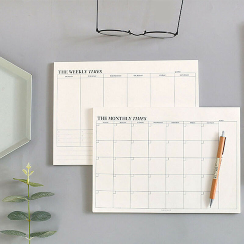 60 Pages Creative Simple Office School Supplies Stationery Notebook Memo Tearable Weekly Monthly Work Plan Schedule Notepad 2021 new products on the shelves lovely flowers schedule diary weekly plan notebook school office supplies lovely stationery
