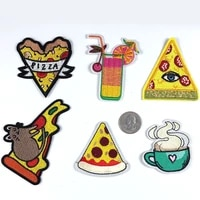 50pcslot embroidery patches letters clothing decoration accessories milk tea soda cheese pizza diy iron heat transfer applique