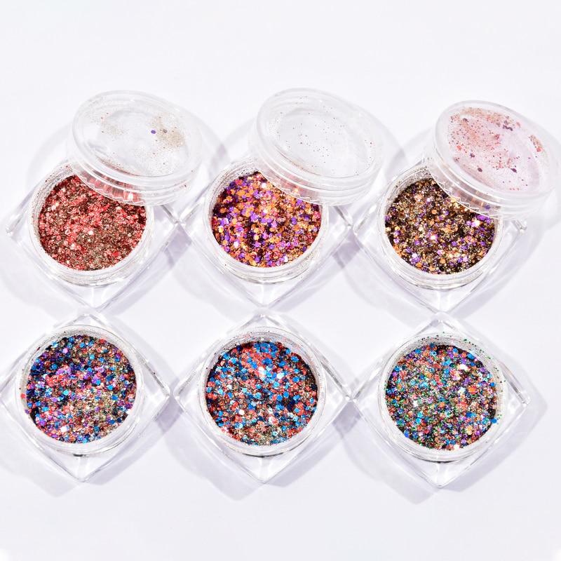Juego de 6 cajas de lentejuelas holográficas multicolores, gruesas y multicolores, efecto holográfico, ultrafino, para decoración de uñas
