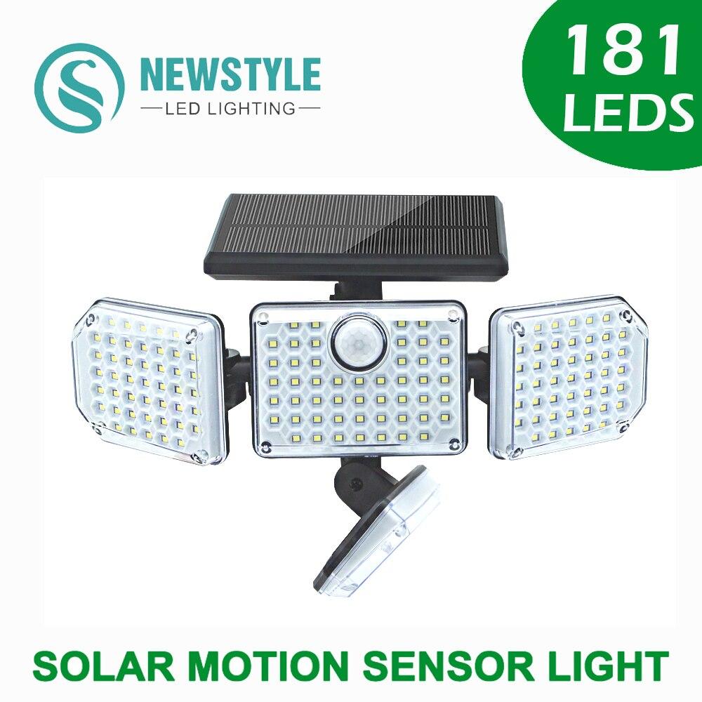 181 LED مصباح للطاقة الشمسية في الهواء الطلق مقاوم للماء بالطاقة أشعة الشمس محس حركة لحديقة الديكور أضواء الشوارع 4 رؤساء 1400lm 2400mAh