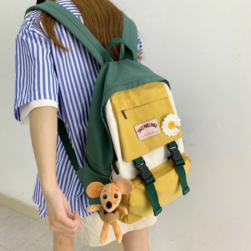 Panelled School Girls Backpack Women Fashion Cute Shoulder Bags Small Fresh Ladies Backpacks College