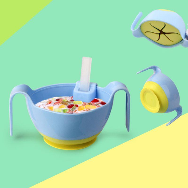 Platos de entrenamiento de bebé 3 en 1 tazón de alimentación con mango de silicona con ventosa de pajita recipiente de comida para niños pequeños vajilla para niños