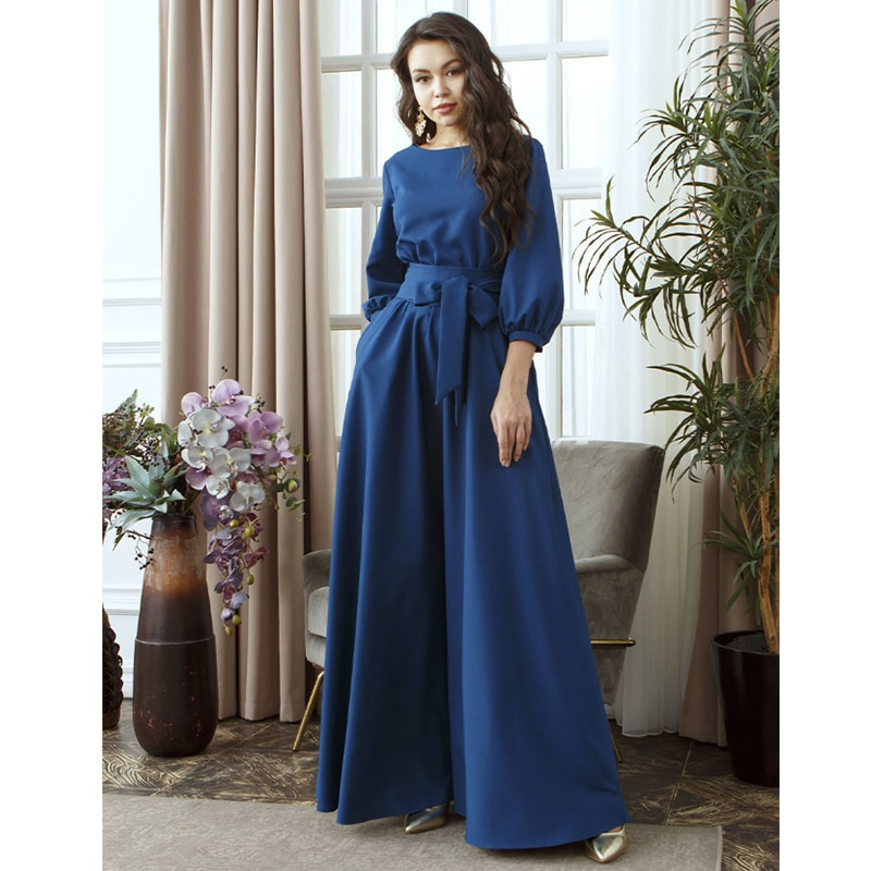 Women Vintage Lantern Sleeve Sashes Party Dress Three Quarter Sleeve O neck Solid Long Dress 2019 Autumn Fashion A-line Dress