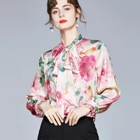 korean fashion women silk blouses women satin shirt woman floral blouse tops woman long sleeve bow blouses ladies print shirts