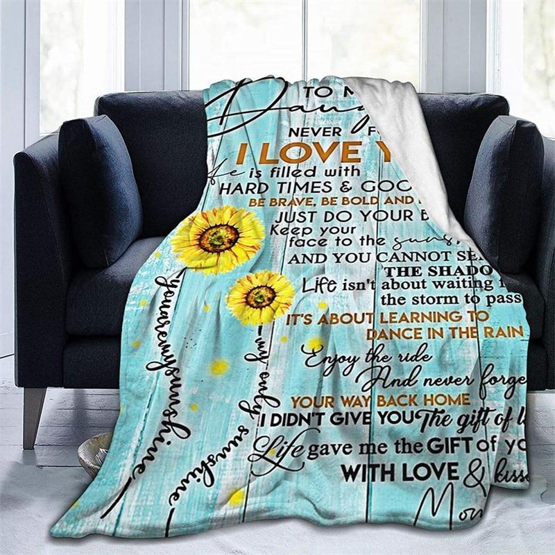 إلى ابنتي أبدا تفقد من أبي لينة أفخم هدية الفانيلا صوف ليف دقيق المفرش شيربا 3d-print بطانية الأريكة