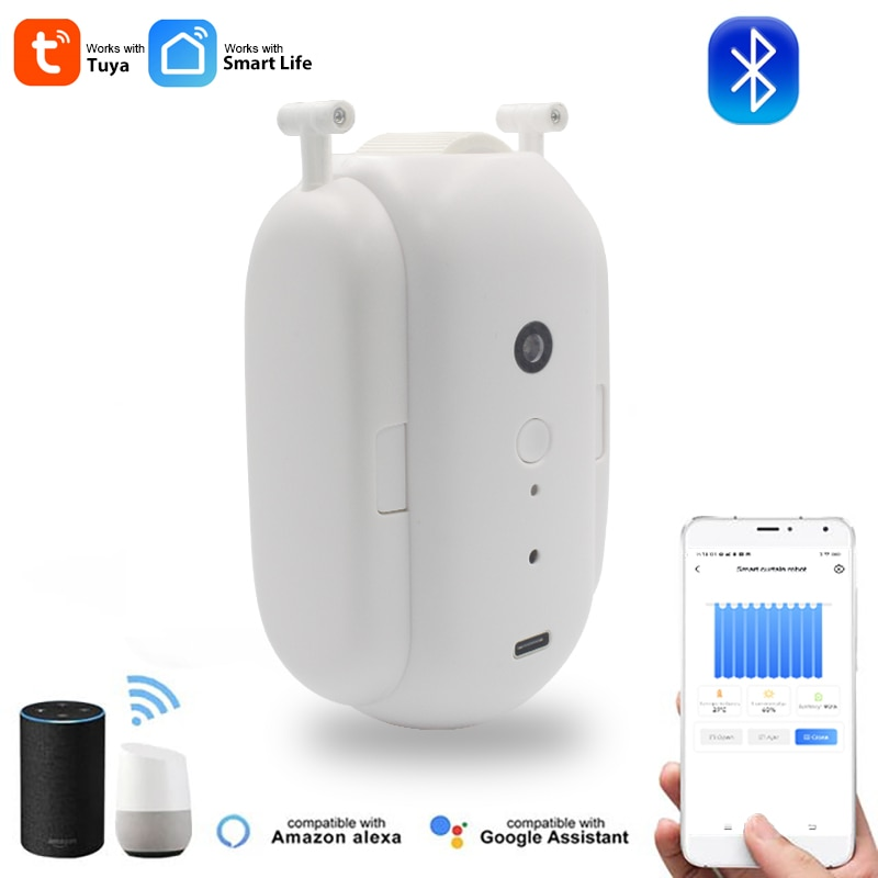 tuya smart home electric curtain track motor wifi remote control work with alexa google home automatic curtain silent rails Tuya Smart Curtain Switch-bot Wireless Automatic Curtain Opener Robot Rod Switch Electric Motor Remote Control Alexa Google Home